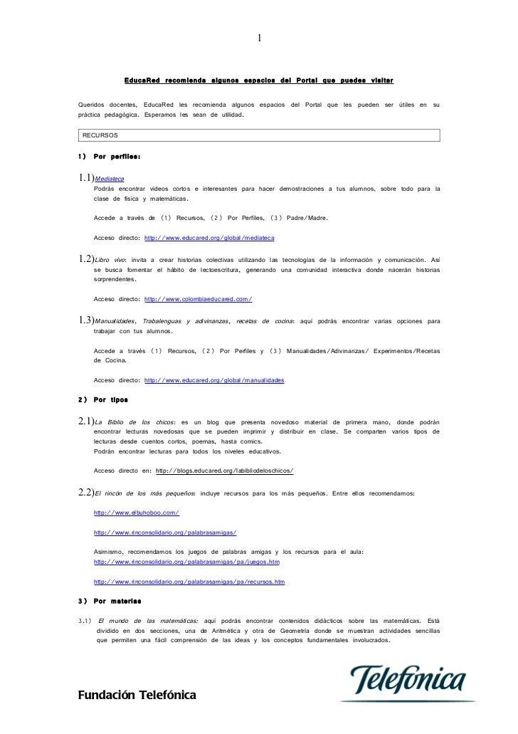 1                EducaRed recomienda algunos espacios del Portal que puedes visitarQueridos docentes, EducaRed les recomie...