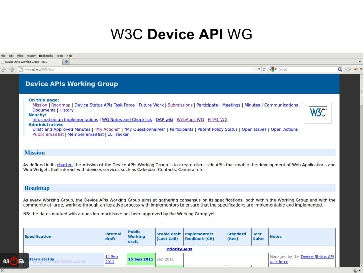 W3C  Device API  WG http://mob-labs.com
