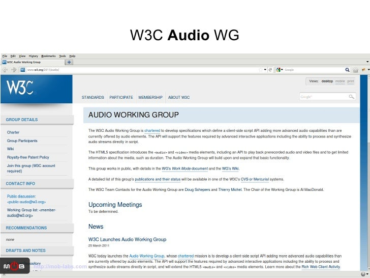 W3C  Audio  WG http://mob-labs.com