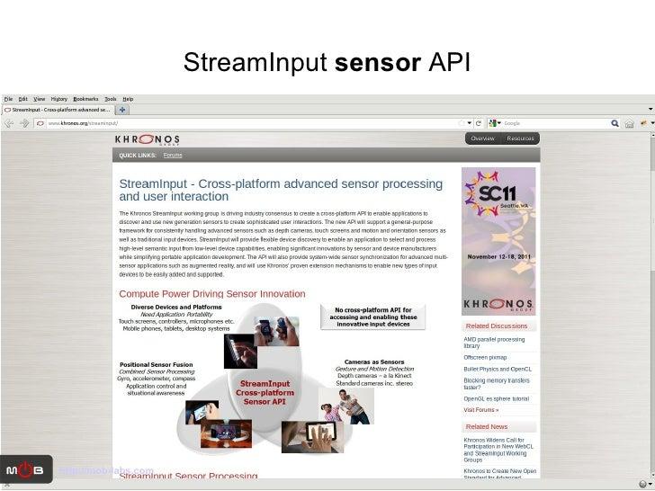 StreamInput  sensor  API http://mob-labs.com