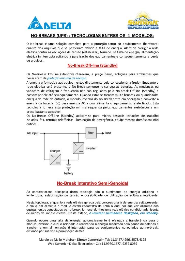 NO-BREAKS (UPS) : TECNOLOGIAS ENTRES OS 4 MODELOS:O No-break é uma solução completa para a proteção tanto do equipamento (...