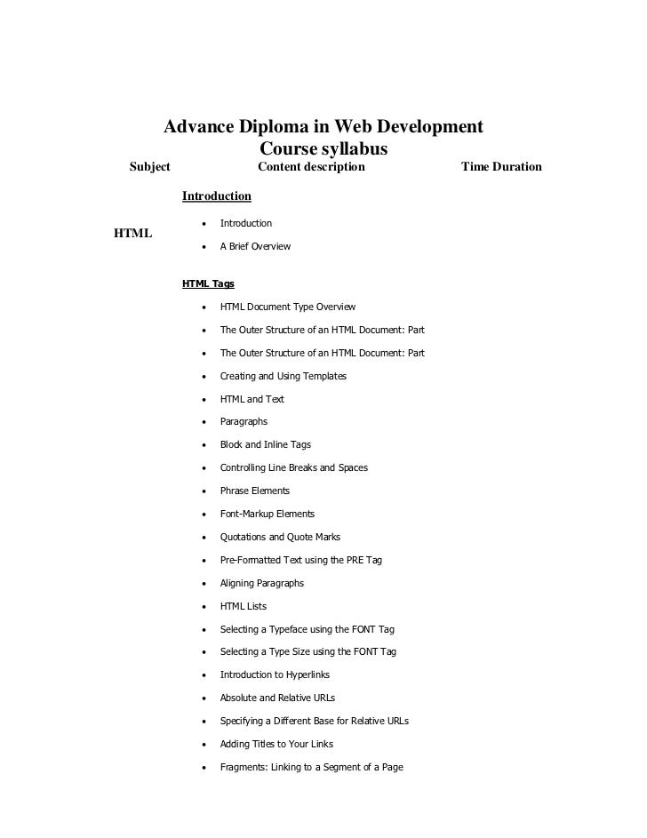 Advance Diploma in Web Development                 Course syllabus Subject                  Content description           ...