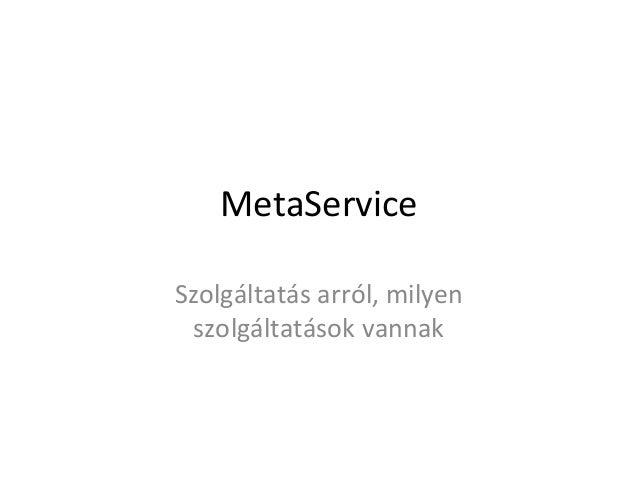 MetaServiceSzolgáltatás arról, milyen  szolgáltatások vannak