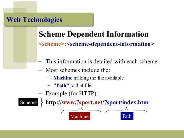 Web Technologies Scheme Dependent Information <scheme>:<scheme-dependent-information> – This information is detailed with ...