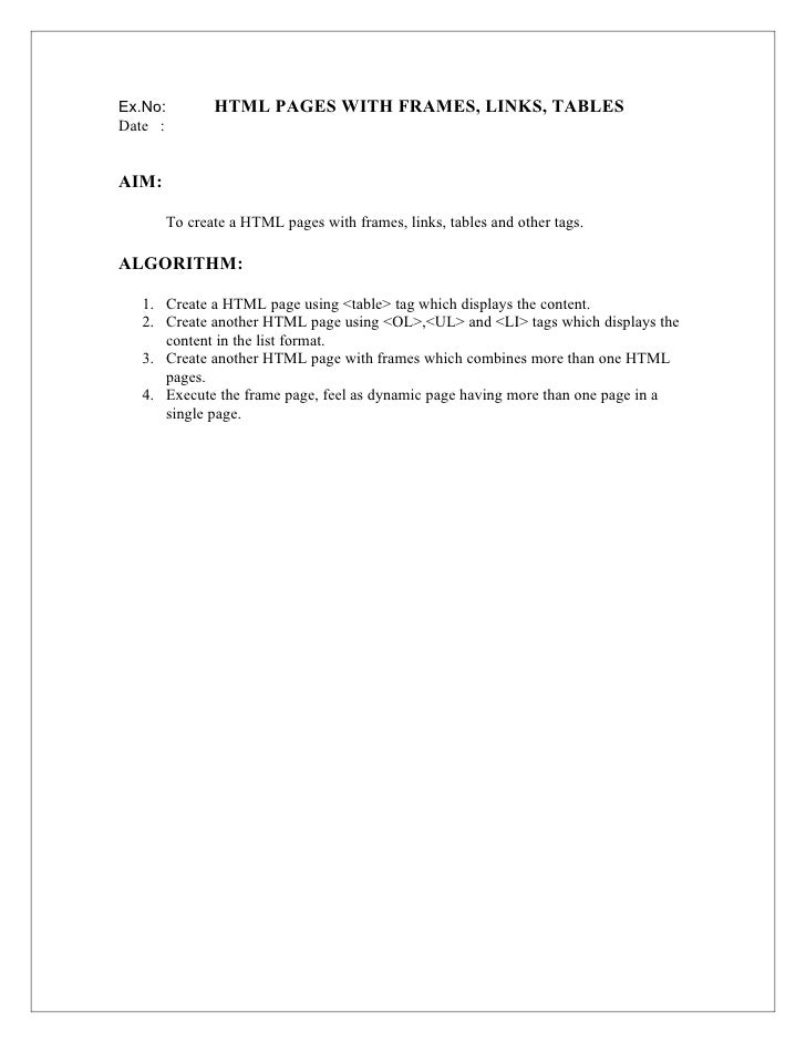 Ex.No:        HTML PAGES WITH FRAMES, LINKS, TABLESDate :AIM:       To create a HTML pages with frames, links, tables and ...