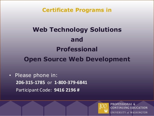 Certificate Programs in         Web Technology Solutions                         and                   Professional     Op...