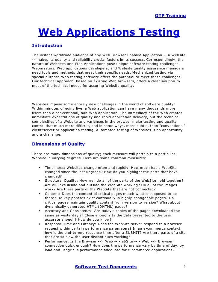 QTP Training       Web Applications Testing Introduction  The instant worldwide audience of any Web Browser Enabled Applic...