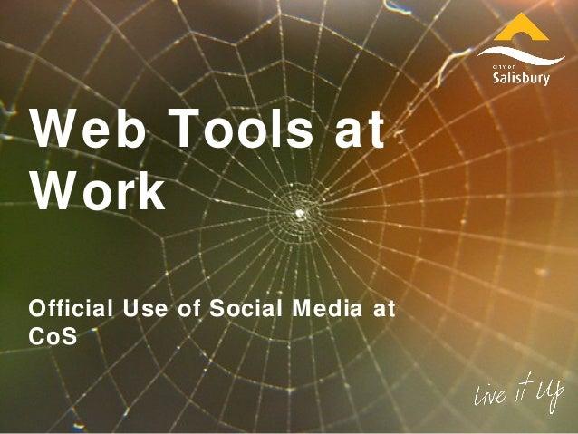 Web Tools at Work Official Use of Social Media at CoS