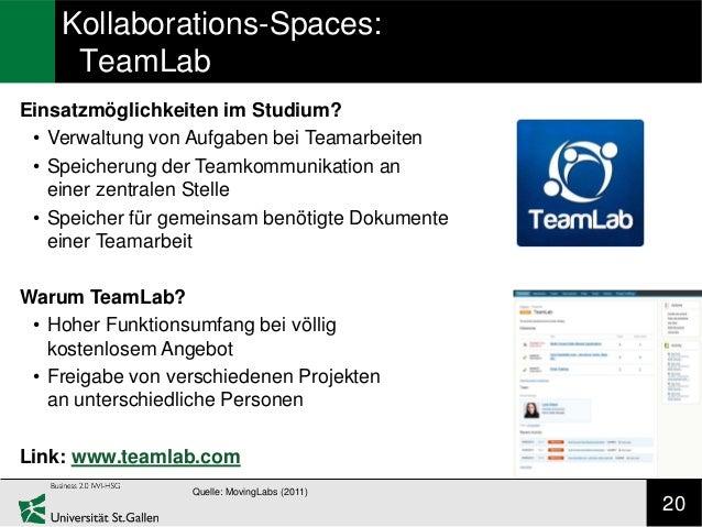 Kollaborations-Spaces:     TeamLabEinsatzmöglichkeiten im Studium? • Verwaltung von Aufgaben bei Teamarbeiten • Speicherun...