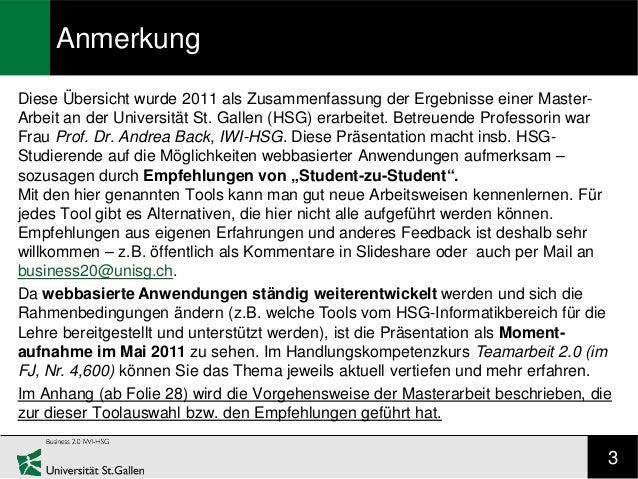 AnmerkungDiese Übersicht wurde 2011 als Zusammenfassung der Ergebnisse einer Master-Arbeit an der Universität St. Gallen (...