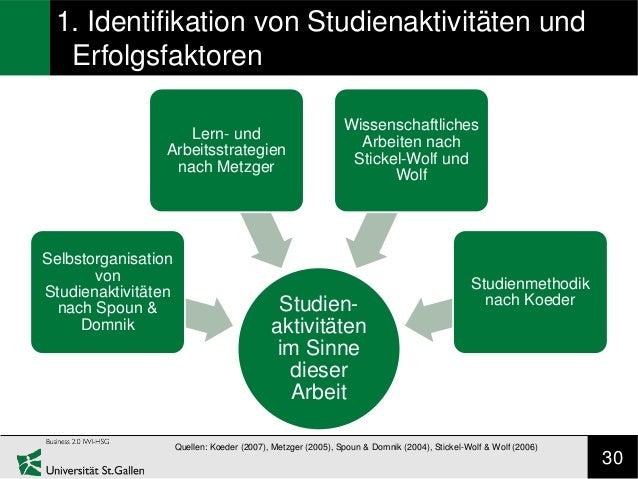 1. Identifikation von Studienaktivitäten und  Erfolgsfaktoren                                                             ...