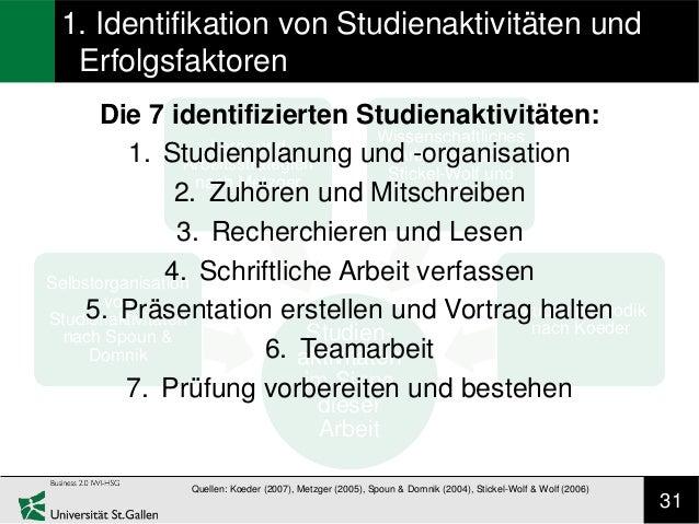 1. Identifikation von Studienaktivitäten und  Erfolgsfaktoren      Die 7 identifizierten Studienaktivitäten:              ...