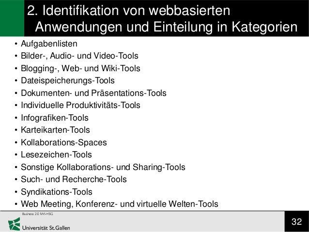 2. Identifikation von webbasierten      Anwendungen und Einteilung in Kategorien•   Aufgabenlisten•   Bilder-, Audio- und ...