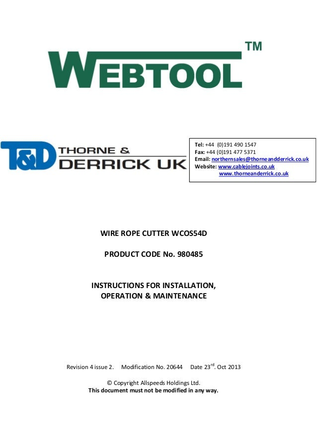 Webtools WCOS54D (open sided) Wire Rope Cutters up to 54mm - Operatio…