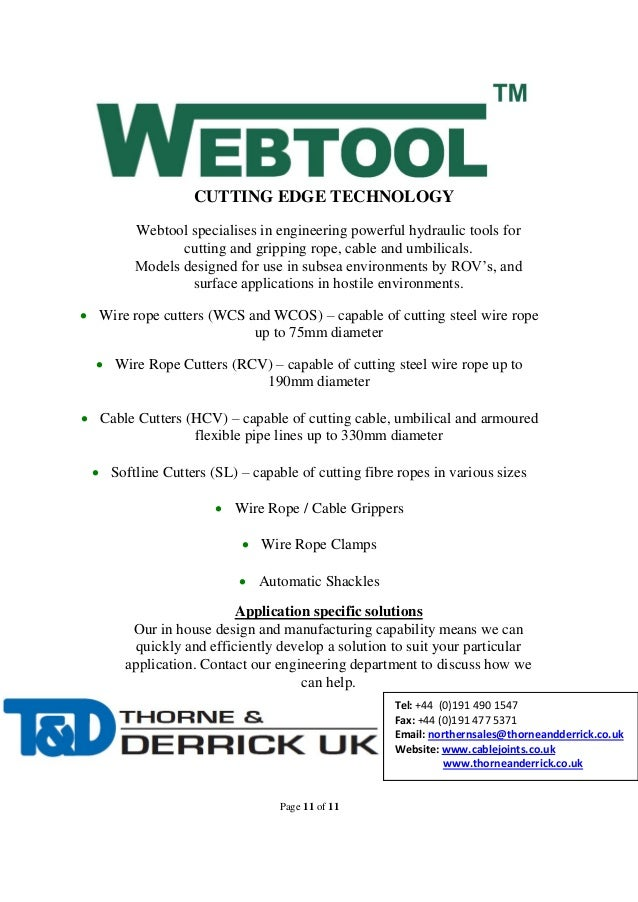Webtools WCS22D Wire Rope Cutters up to 22mm - Operation Manual