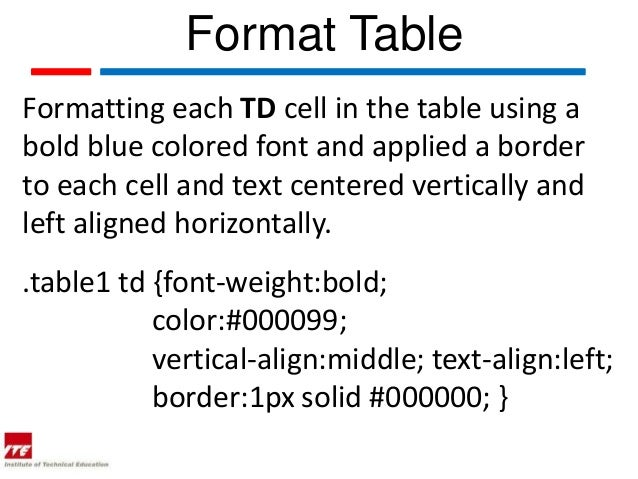 Web topic 17 font family in css for Table font size css