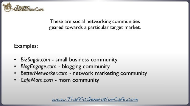 These are social networking communities geared towards a particular target market.  Examples: •  •  •  •   BizSugar.co...