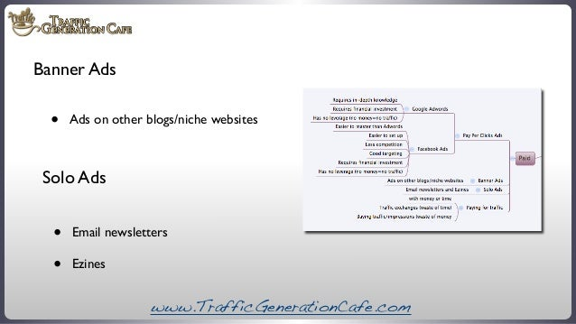 Banner Ads  •  Ads on other blogs/niche websites  Solo Ads  • •  Email newsletters Ezines  www.TrafficGenerationCafe.com