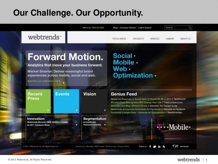 Our Challenge. Our Opportunity.© 2012 Webtrends, All Rights Reserved.   | 1