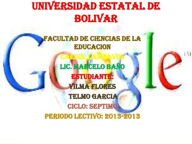 UNIVERSIDAD ESTATAL DE BOLIVAR FACULTAD DE CIENCIAS DE LA EDUCACION CAEDIS: LAS NAVES LIC. MARCELO BAÑO ESTUDIANTE: VILMA ...