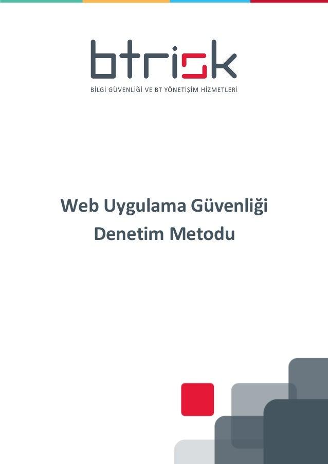 Web Uygulama Güvenliği Denetim Metodu