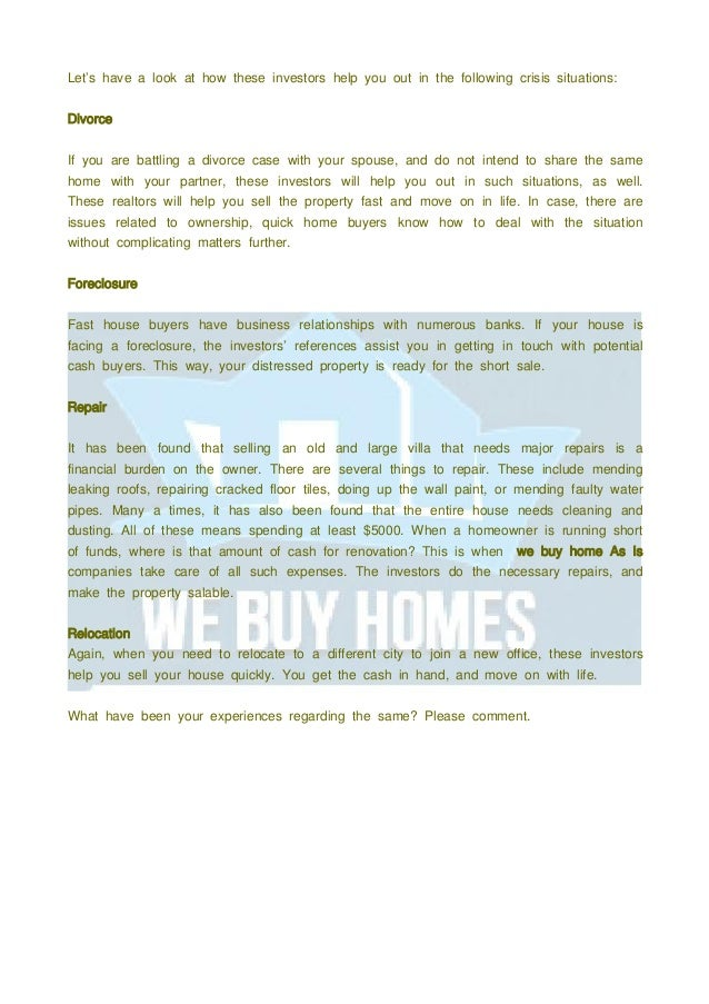 We Buy Homes As Is Investors- End to All Your Real Estate Concerns