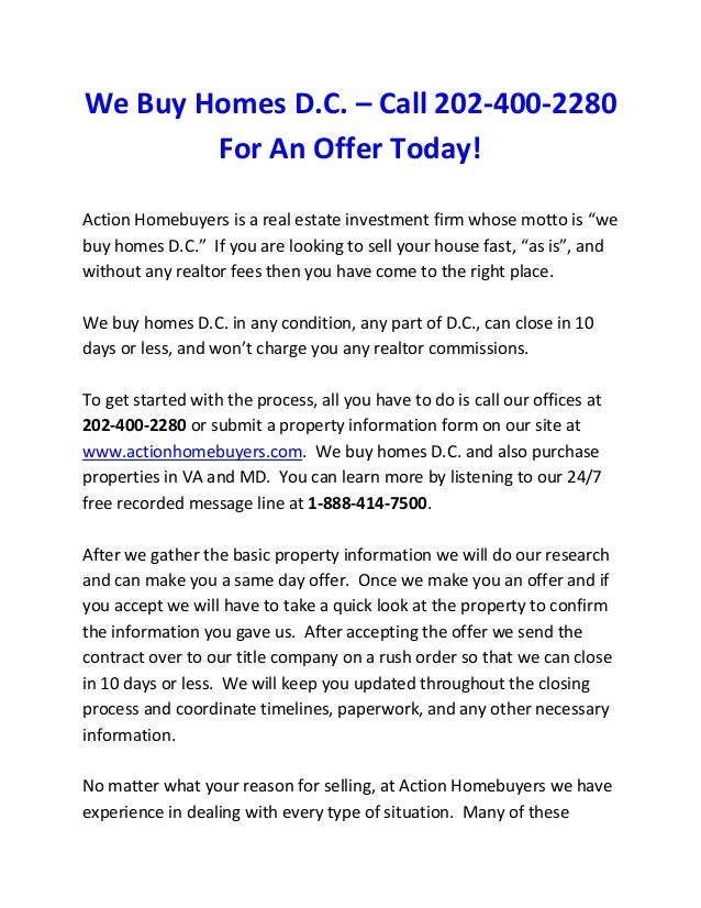 We Buy Homes D.C. Sell Your House Fast in DC, MD, or VA
