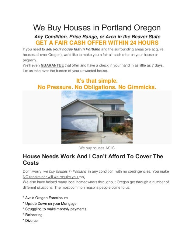 We buy houses in Portland Oregon - Sell My House Fast Portland Oregon