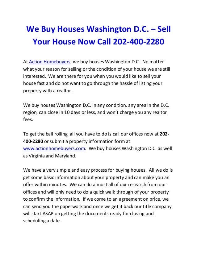 We buy houses Washington D.C.