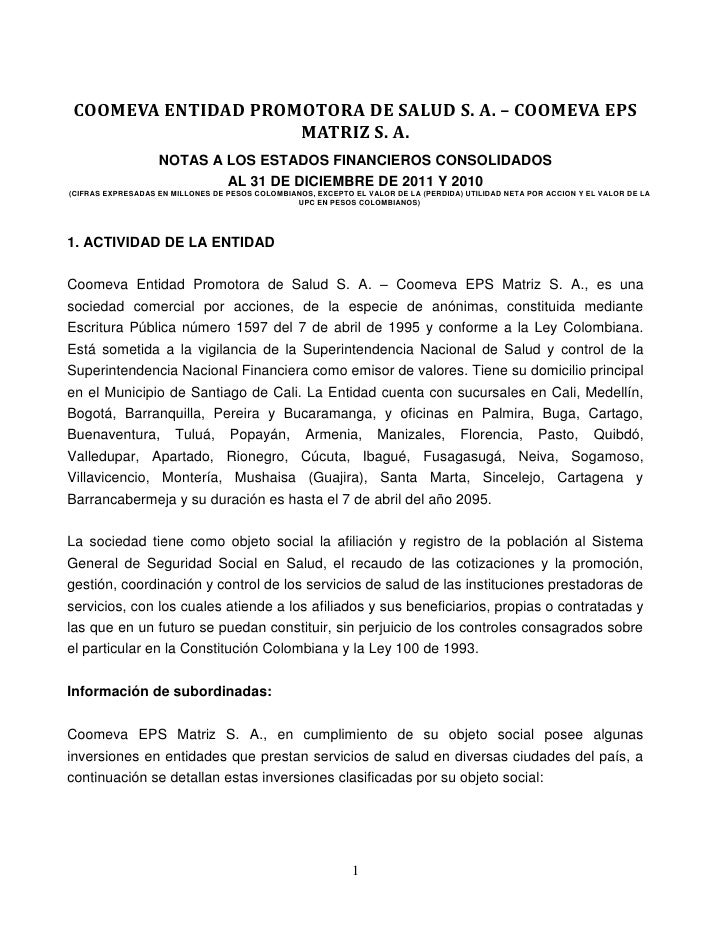COOMEVA ENTIDAD PROMOTORA DE SALUD S. A. – COOMEVA EPS                     MATRIZ S. A.                   NOTAS A LOS ESTA...