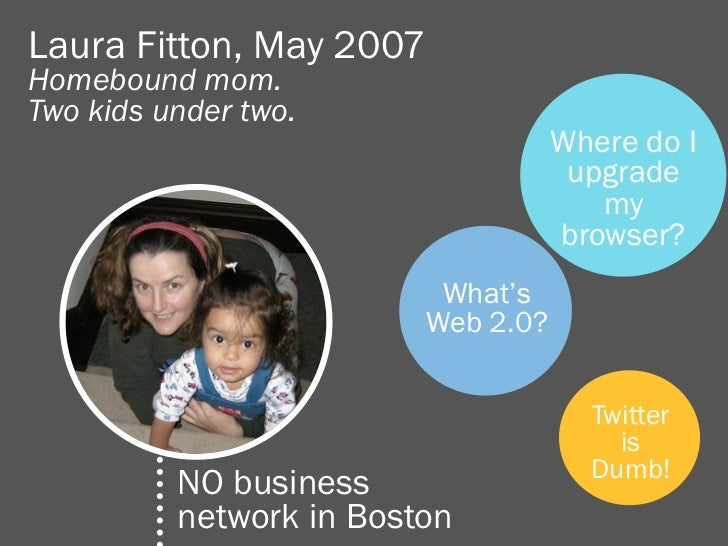 Laura Fitton, May 2007Homebound mom.Two kids under two.                                    Where do I                     ...