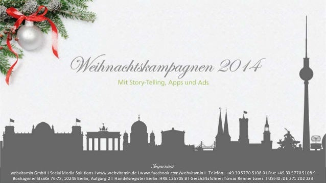 Weihnachten 2014  Impressum  webvitamin GmbH I Social Media Solutions I www.webvitamin.de I www.facebook.com/webvitamin I ...