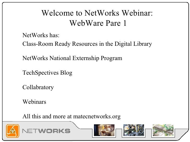 Welcome to NetWorks Webinar:  WebWare Pare 1 Class-Room Ready Resources in the Digital Library NetWorks National Externshi...