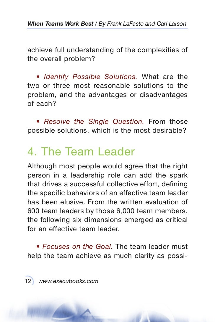when teams work best 6 000 team members and leaders tell what it tak 12 when teams