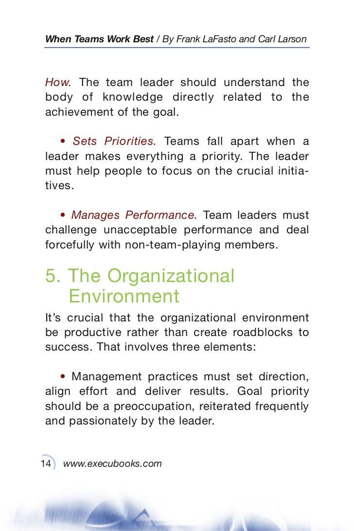 when teams work best 6 000 team members and leaders tell what it tak 14 when teams