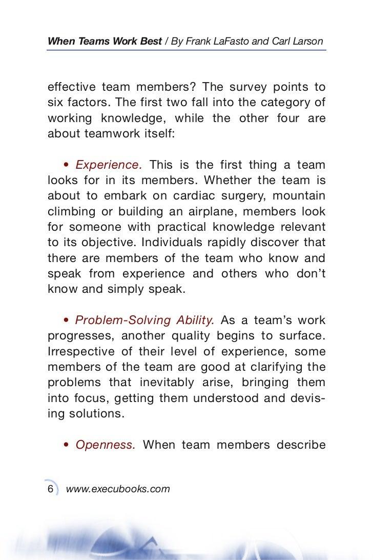 when teams work best 6 000 team members and leaders tell what it tak 6 when teams work