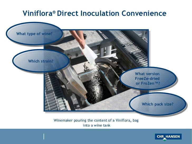 Viniflora ®  Direct Inoculation Convenience  Winemaker pouring the content of a Viniflora ®  bag  into a wine tank What ty...