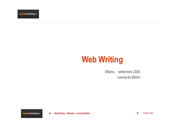 Web Writing                                                Milano, settembre 2008                                         ...