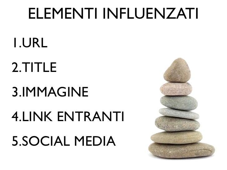 ELEMENTI INFLUENZATI1.URL2.TITLE3.IMMAGINE4.LINK ENTRANTI5.SOCIAL MEDIA