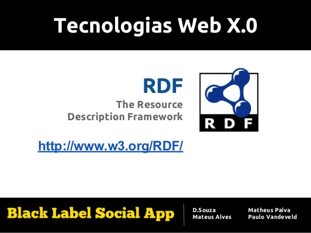 Tecnologias Web X.0 RDF The Resource Description Framework http://www.w3.org/RDF/ D.Souza Mateus Alves Matheus Paiva Paulo...