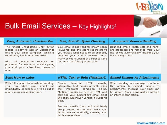 WebXion - Bulk Email / Email Marketing Service Brochure