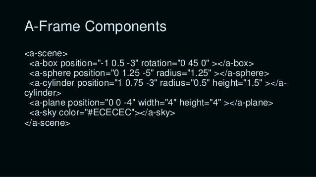 "A-Frame <a-scene> <a-box position=""-1 0.5 -3""></a-box> </a-scene> HTML Attribute name HTML Tag HTML Attribute Value HTML C..."