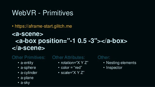 "WebVR - Textures • https://timmykokke.com/360.jpg (equirectangular) • http://texturelib.com/ • ""src"" attribute with URL or..."