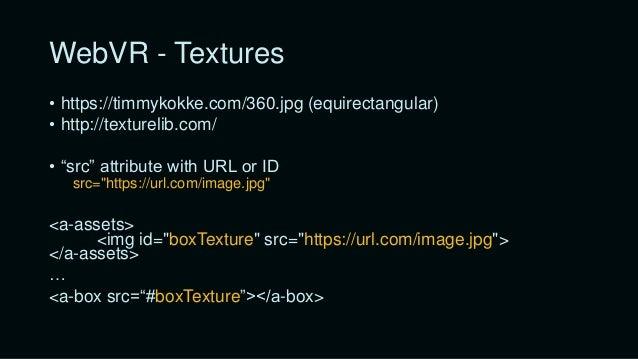 "WebVR - Cursor <a-camera position=""0 1.6 0"" <a-entity cursor=""fuse: true; fuseTimeout: 500"" position=""0 0 -1"" geometry=""pr..."