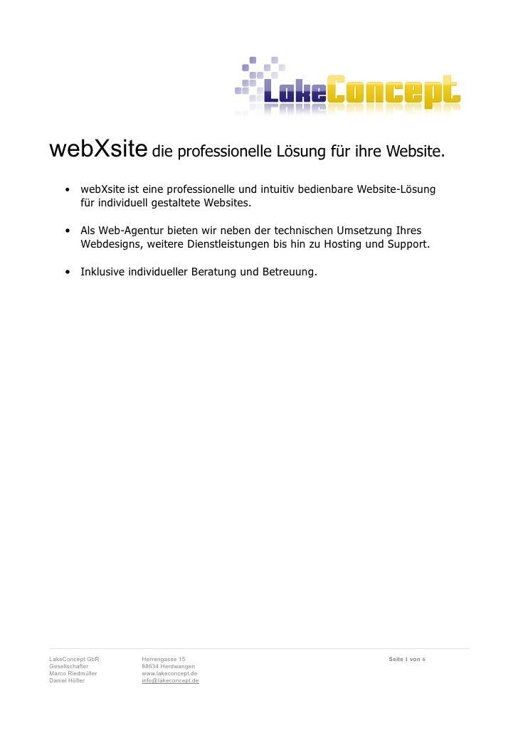 webXsite die professionelle Lösung für ihre Website.      •    webXsite ist eine professionelle und intuitiv bedienbare We...