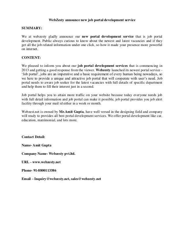 WebZesty announce new job portal development service SUMMARY: We at webzesty gladly announce our new portal development se...