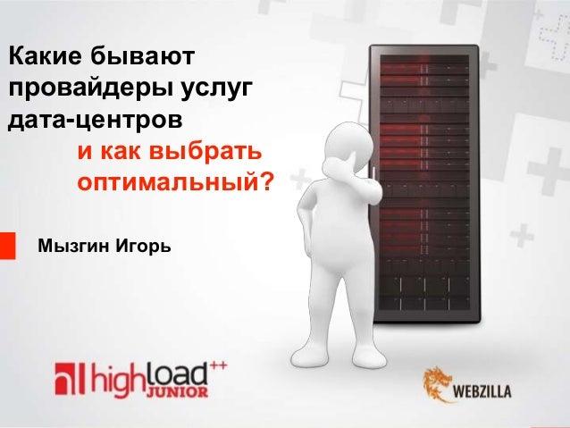 Мызгин Игорь и как выбрать оптимальный? Какие бывают провайдеры услуг дата-центров