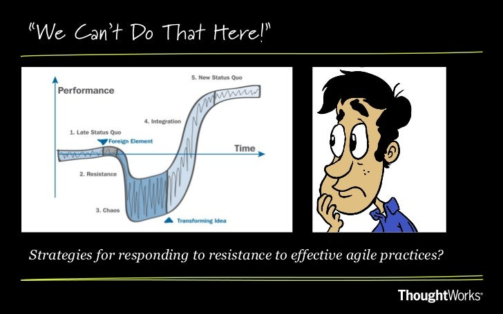 """""""We Can't Do That Here!""""Strategies for responding to resistance to effective agile practices?"""
