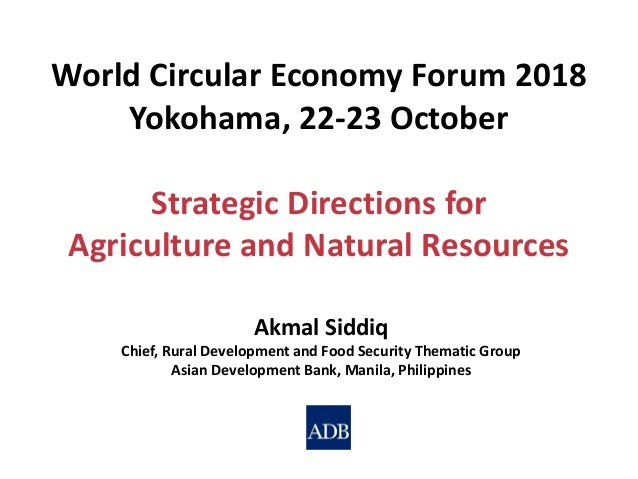 Akmal Siddiq Chief, Rural Development and Food Security Thematic Group Asian Development Bank, Manila, Philippines World C...
