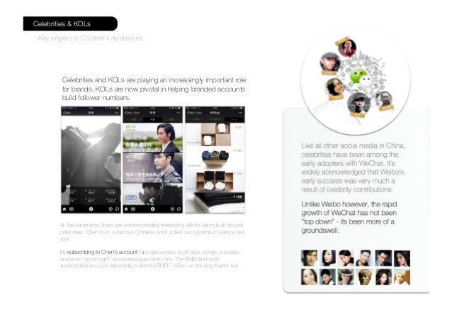 Like all other social media in China, celebrities have been among the early adopters with WeChat. It's widely acknowledged...